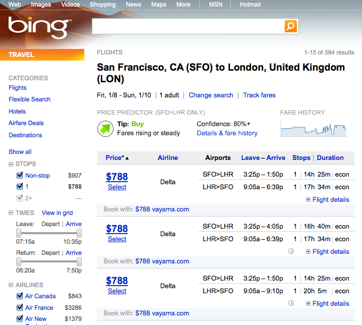 bing flight comparison
